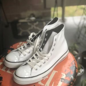 Converse Shoes - White patent leather converse
